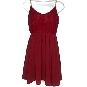 Red Lace Overlay Chain Strap Dress Juniors Small